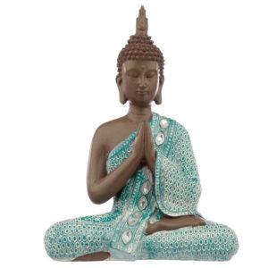 Decorative Turquoise & Brown Buddha Figurine - Meditating
