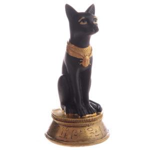 Decorative Small Black and Gold Bast Egyptian Figurine